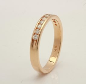 Beautifully Designed Brilliant Cut Diamond Band In YG 14K