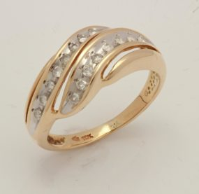Beautifully Designed Brilliant Cut  Diamond Ring In YG 10K