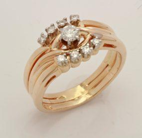 Beautifully Designed Round  Diamond Ring In YG 14K