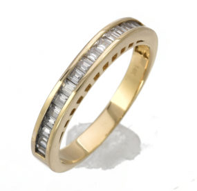 Beautifully Designed Baguette CZ Ring In YG 14K
