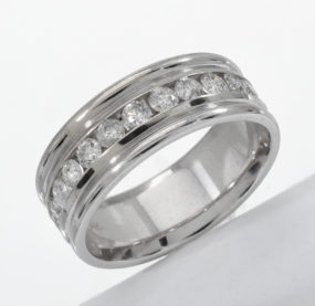 Beautifully Designed Brilliant Cut Diamond Band In WG 14K