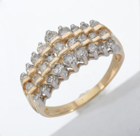 Beautifully Designed Brilliant Cut  Diamond Ring In YG 14K