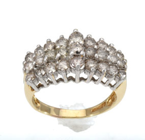 Beautifully Designed Brilliant Cut  Diamond Ring In 2Tone 10k
